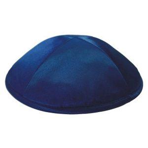 Navy Blue Satin Deluxe Yarmulke