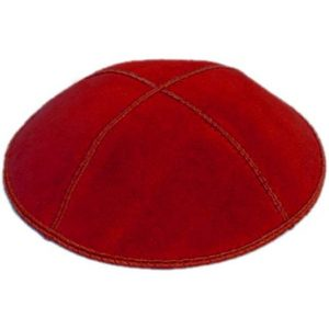 Red Suede Yarmulke