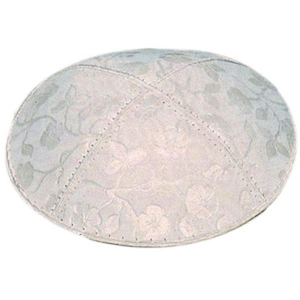 White on White Floral Design Yarmulke