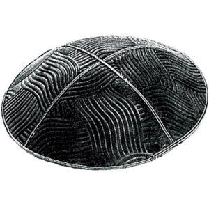 Black Brushstroke Design Suede Yarmulke