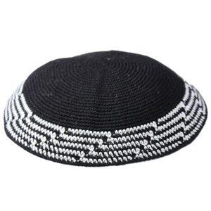 Black Cascading Design Knit Yarmulke