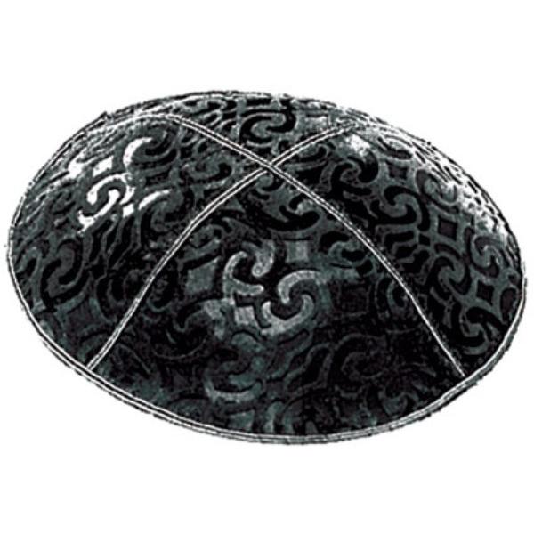 Black Design Suede Yarmulke