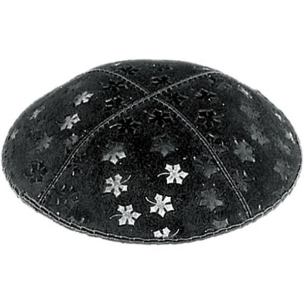 Black Embossed Leaves Design Suede Yarmulke