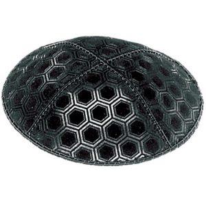Black Hexagon Design Suede Yarmulke