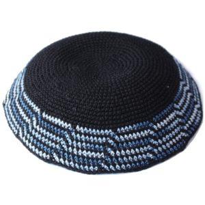 Black with Cascading Blue Crochet Knit Yarmulke