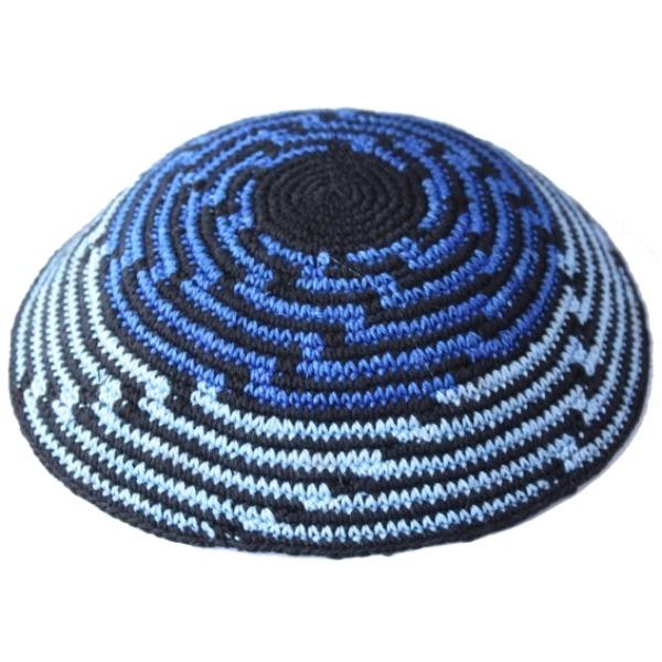 Black with Cascading Blue Knit Yarmulke
