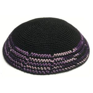 Black with Cascading Multi Color Design Knit Yarmulke