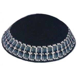 Black with Design Rim Knit Yarmulke