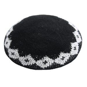 Black with Diamond Design Knit Yarmulke