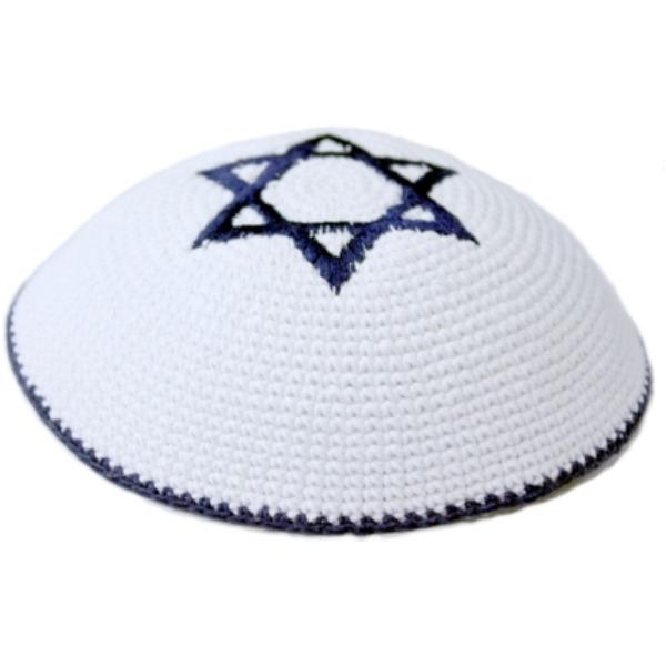 Blue and White Star of David Crochet Knit Yarmulke