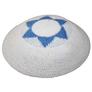 Blue and White Star of David Knit Yarmulke