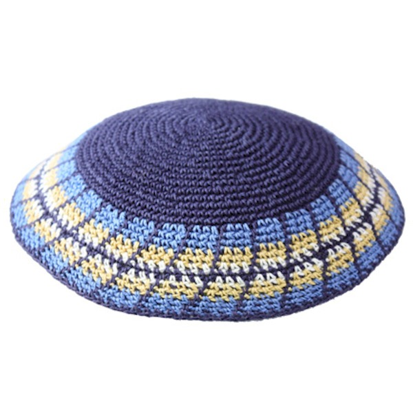 Blue with Colored Rim Knit Yarmulke