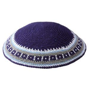 Blue with Rim Design Knit Yarmulke