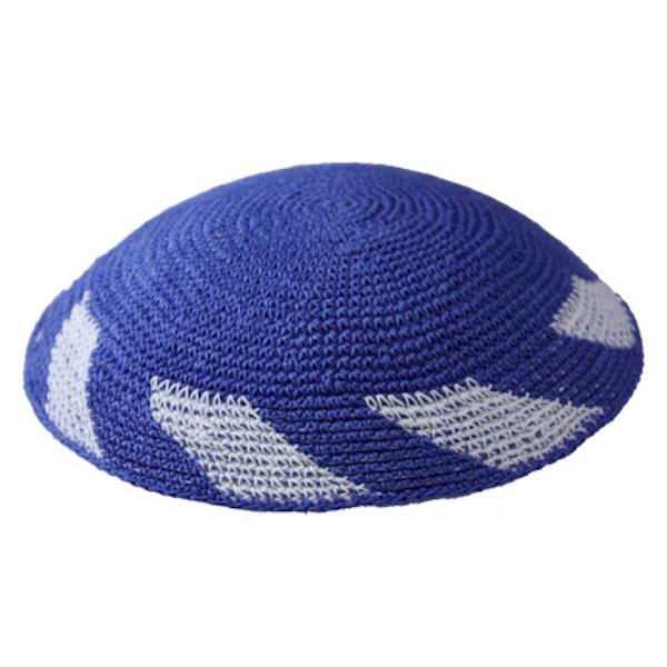 Blue with White Blocks Knit Yarmulke