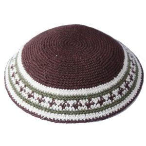 Brown Knit Yarmulke