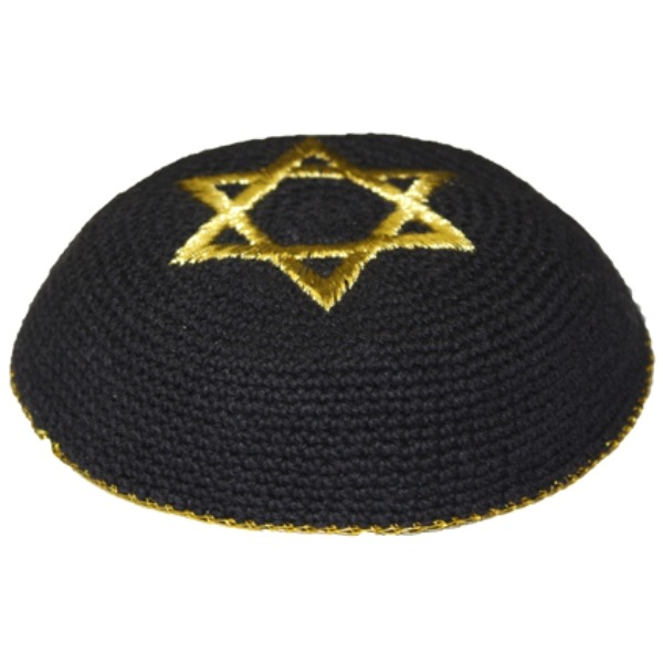 Gold Star of David Black Knit Yarmulke