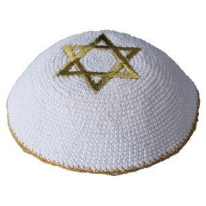 Gold Star of David White Knit Yarmulke