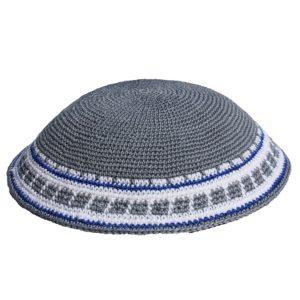 Grey Knit Yarmulke