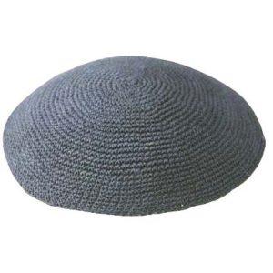 Grey Traditional Knit Yarmulke