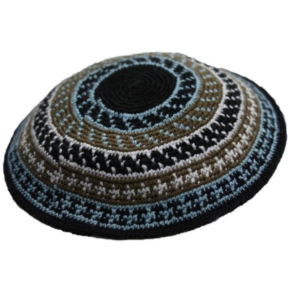 Multi Color Design Blue Knit Yarmulke