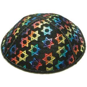 Multicolor Star of David Design Suede Yarmulke