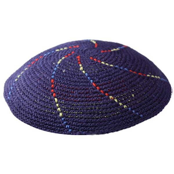 Navy Blue Knit Yarmulke