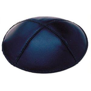 Navy Blue Leather Yarmulke
