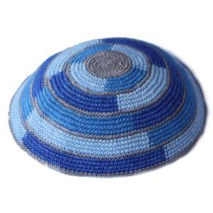 Shades of Blue Knit Yarmulke