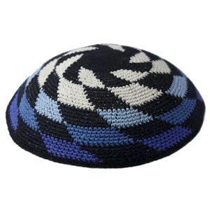 Shades of Blue Whirlpool Knit Yarmulke