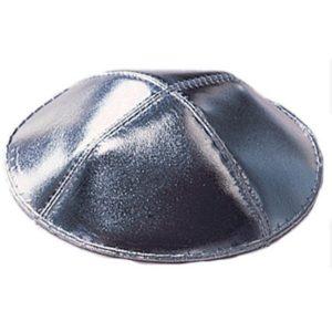 Silver Leather Yarmulke