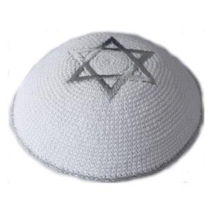 Silver Star of David White Knit Yarmulke