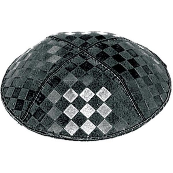 Square Tile Pattern Design Suede Yarmulke