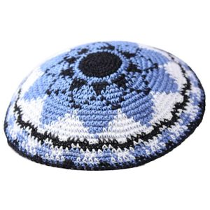 Sunflower Blue and White Knit Yarmulke