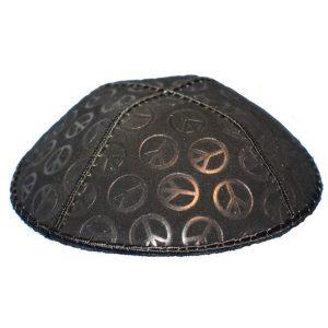 Symbol of Peace Black Design Suede Yarmulke