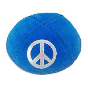 Symbol of Peace Blue Design Suede Yarmulke