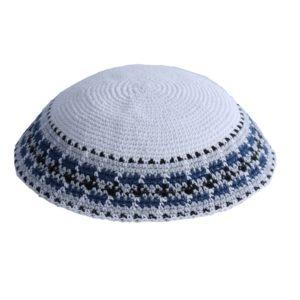 White Classic Design Knit Yarmulke