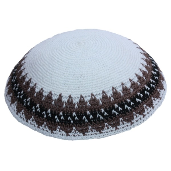 White Traditional Knit Yarmulke