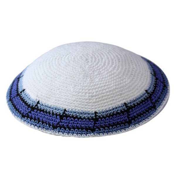 White with Blue Rim Design Knit Yarmulke