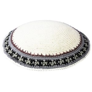 White with Classic Design Knit Yarmulke